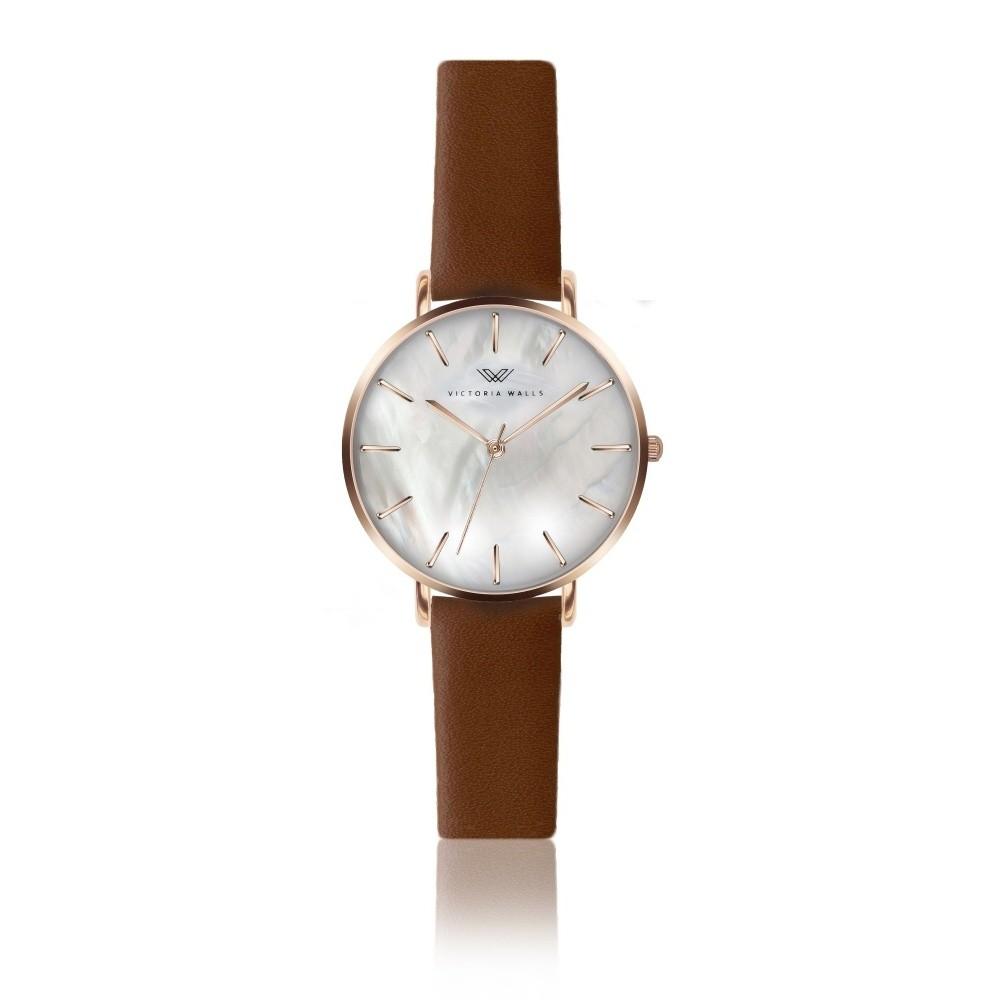 9374b5d1274a Dámske hodinky s hnedým koženým remienkom Victoria Walls Pearl ...